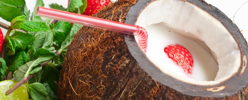 Coconut, Strawberry and Mint Smoothie